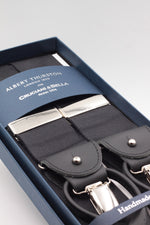 Albert Thurston for Cruciani & Bella Made in England Adjustable Sizing 40 mm Woven Barathea  Black plain Braces 2 in 1 Y-Shaped Nickel Fittings Size: XL