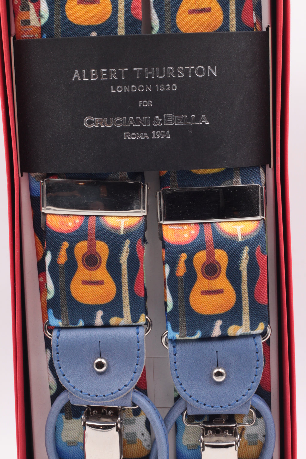 Albert Thurston for Cruciani & Bella Made in England 2 in 1 Adjustable Sizing 40 mm braces Fancy, guitars Y-Shaped Nickel Fittings Size: XL