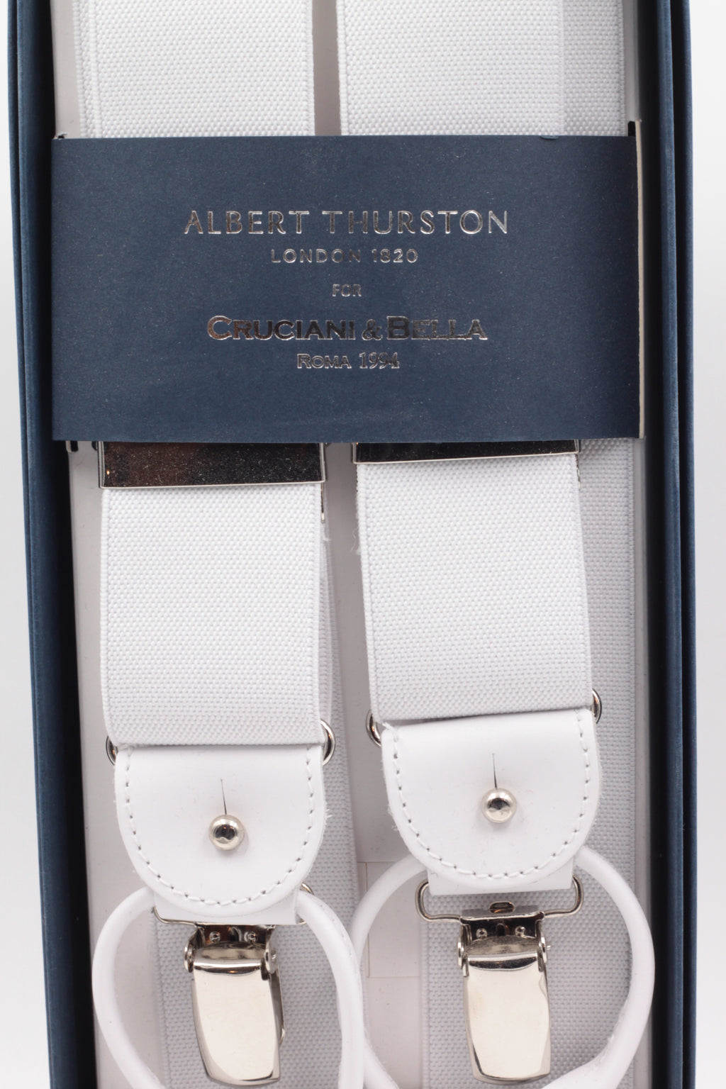 Albert Thurston for Cruciani & Bella Made in England 2 in 1 Adjustable Sizing 35 mm elastic braces White plain Y-Shaped Nickel Fittings