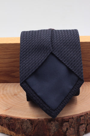 Cruciani & Bella - Silk Grenadine  - Garza grossa - Tipped - Midnight blue plain tie
