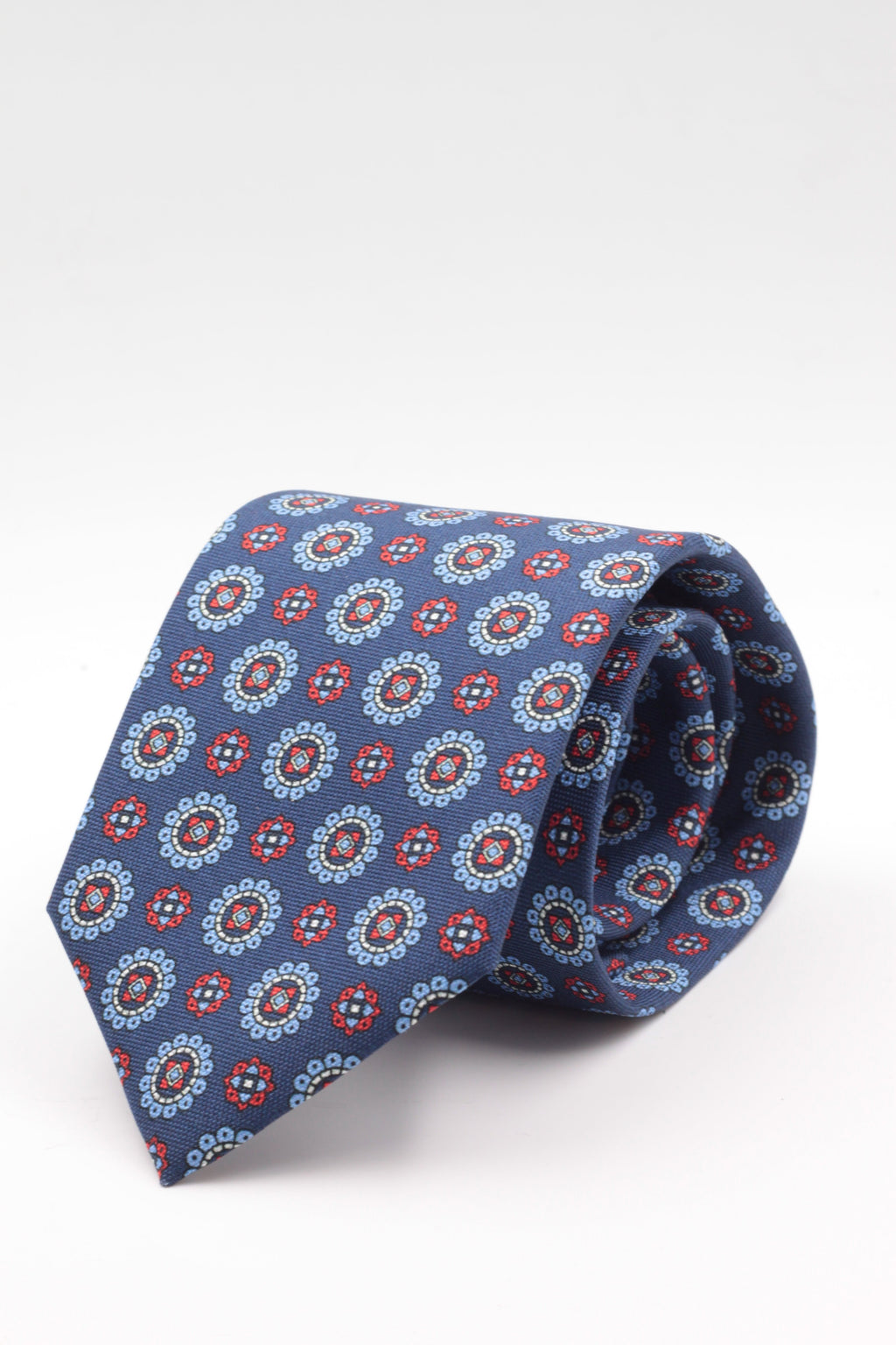 100% Printed Panama Silk Italian fabric Self Tipped Royal blue, red, white and light blue motif tie  Handmade in Italy 8 cm x 150 cm