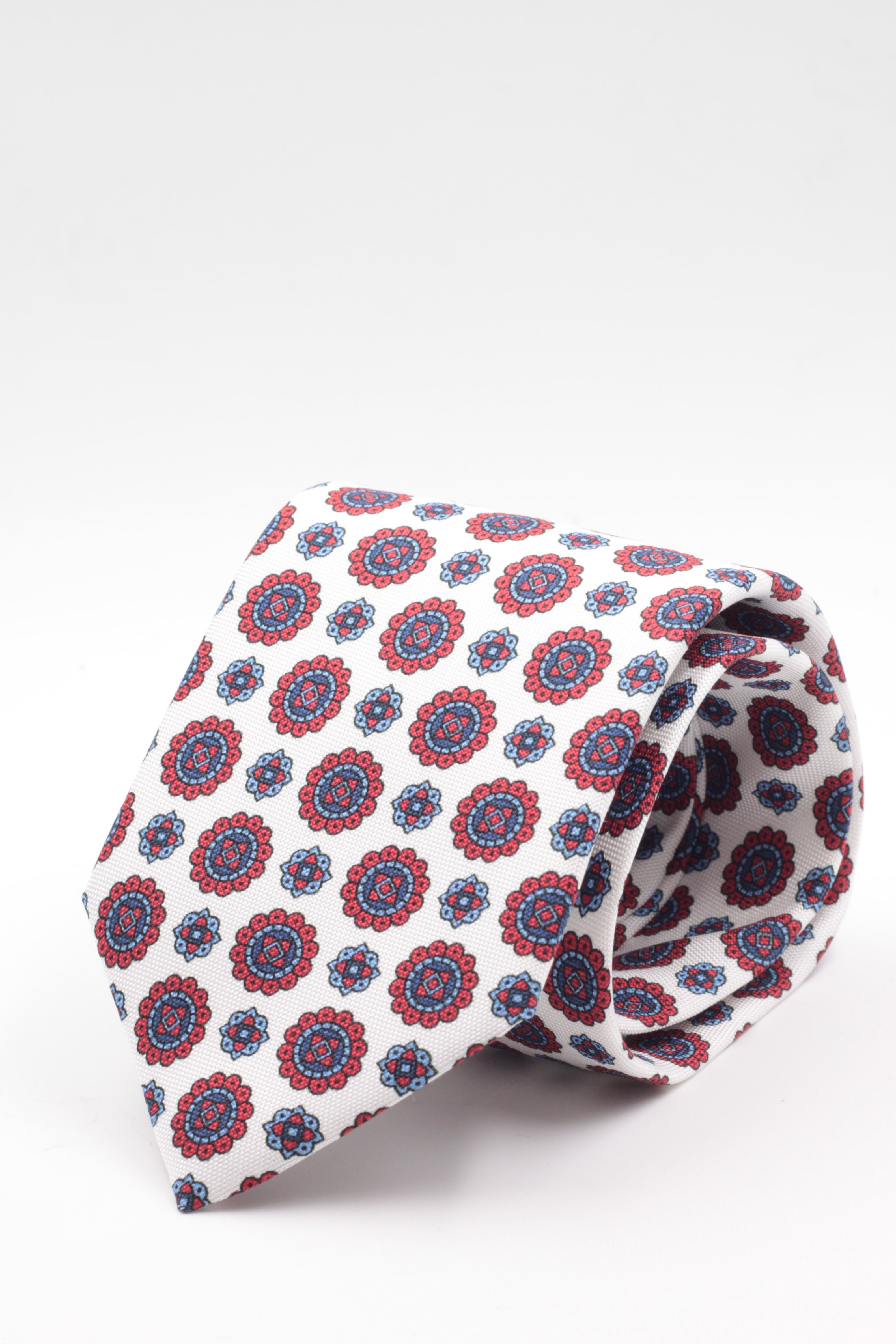 100% Printed Panama Silk Italia fabric Self Tipped White, red and light blue motif tie  Handmade in Italy 8 cm x 150 cm