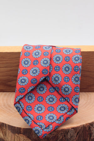 100% Printed Panama Silk Italian fabric Self Tipped Red, light blue, royal blue and white motif tie Handmade in Italy 8 cm x 150 cm