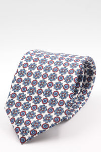 White, red, light blue and olympic blue small motif tie