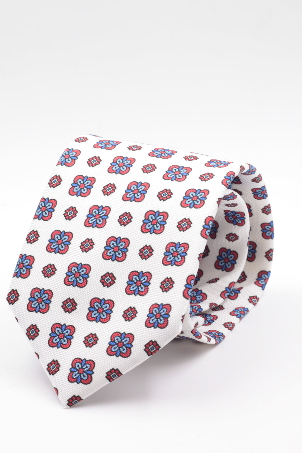 100% Printed Panama Silk Italian fabric Self Tipped White, red, Olympic blue and light blue motif tie Handmade in Italy 8 cm x 150 cm