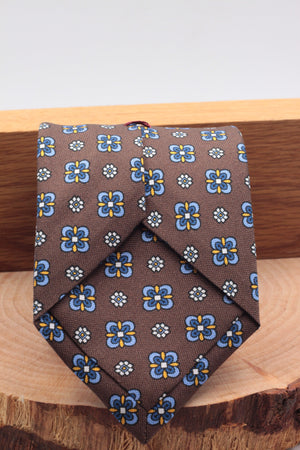 100% Printed Panama Silk Italian fabric Self Tipped Brown, yellow, white, light blue and olympic blue motif tie Handmade in Italy 8 cm x 150 cm