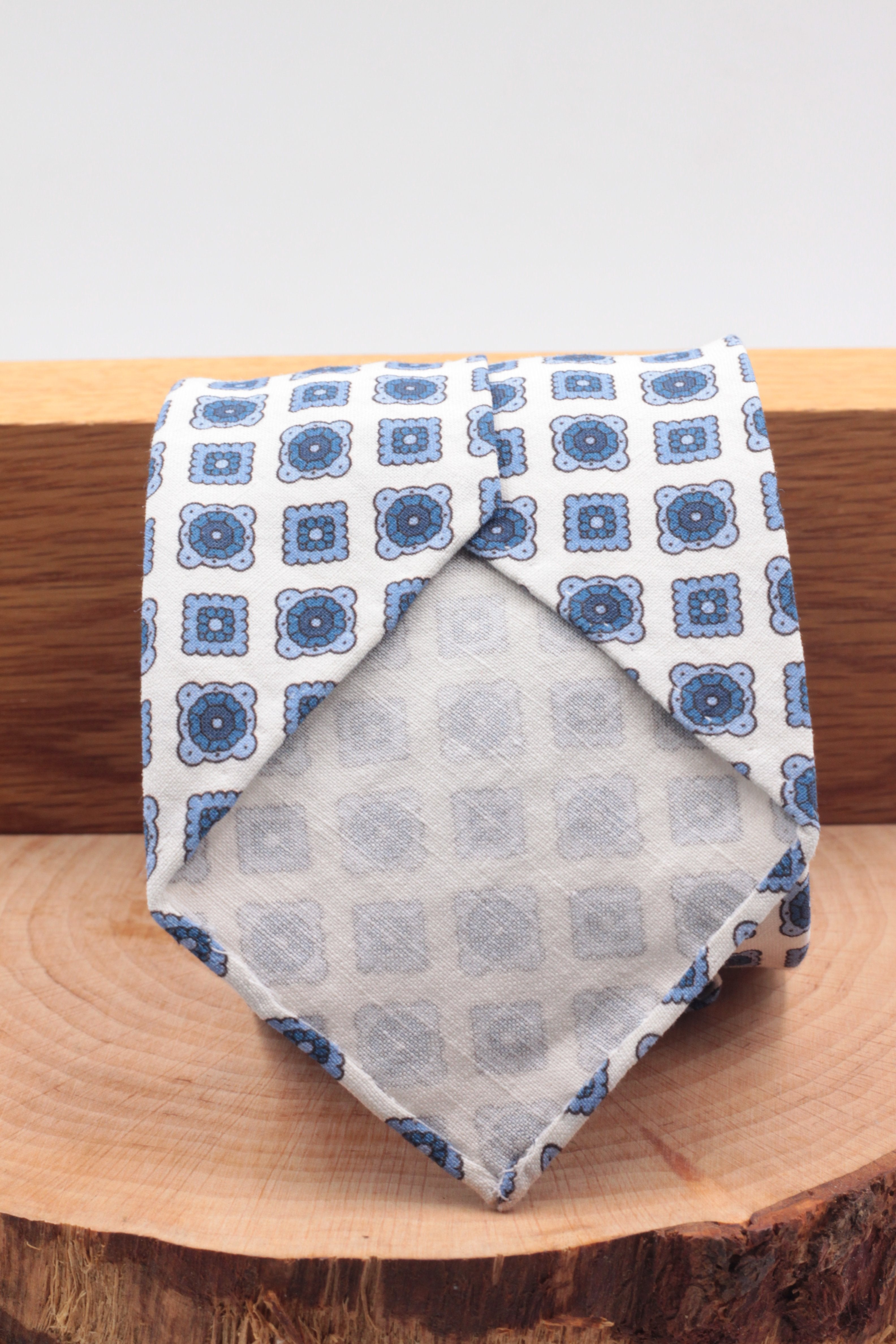 100% Printed Madder Silk  Italian fabric Unlined White, royal blue and light blue tie Handmade in Italy 8 cm x 150 cm