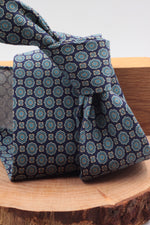 100% Printed Madder Silk  Italian fabric Unlined Blue navy, olympic blue and white pattern unlined tie Handmade in Italy 8 cm x 150 cm