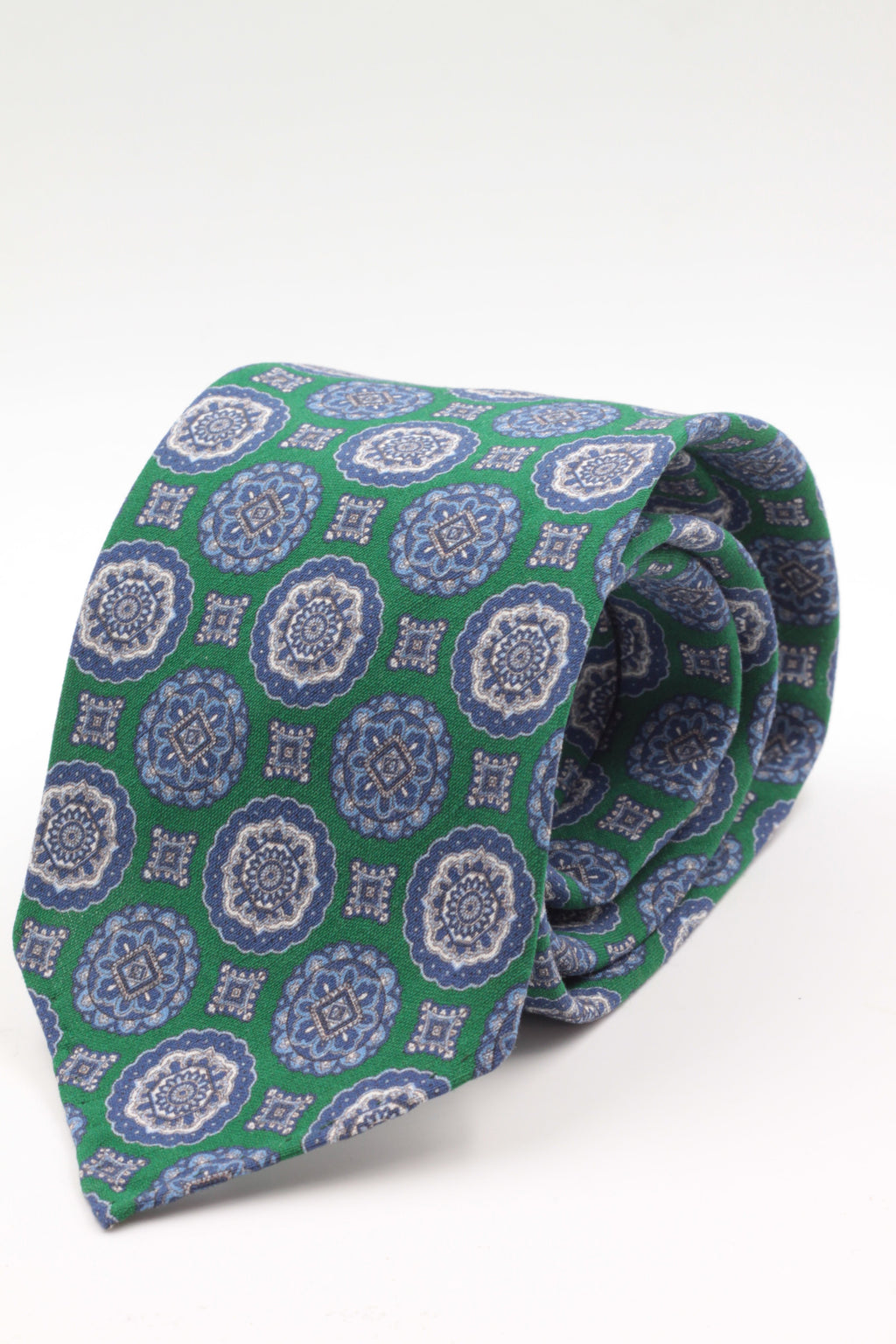 100% Printed Madder Silk  Italian fabric Unlined Emerald green, blue and grey medallions unlined tie Handmade in Italy 8 cm x 150 cm