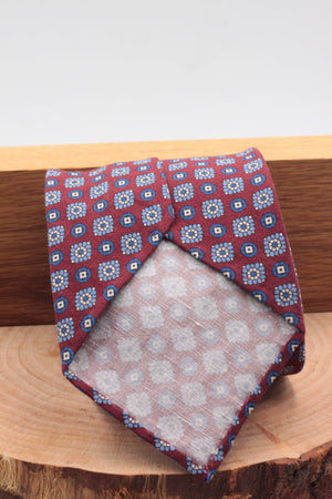 100% Printed Madder Silk  Italian fabric Unlined Burgundy, white and blue motif unlined tie Handmade in Italy 8 cm x 150 cm