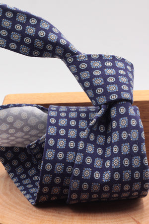 100% Printed Madder Silk  Italian fabric Unlined Blue navy, light blue and white motif unlined tie Handmade in Italy 8 cm x 150 cm