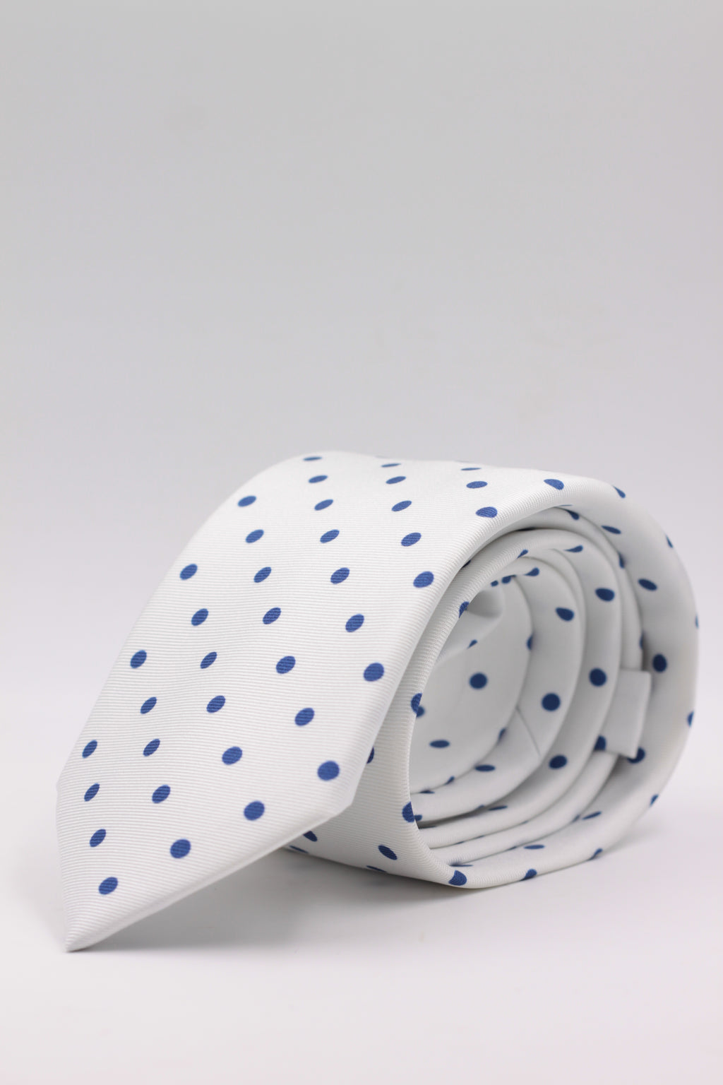 Cruciani & Bella 100% Printed Silk Italian Fabric Self Tipped White and Blue Dot Tie Handmade in Rome 8 cm X 150 cm