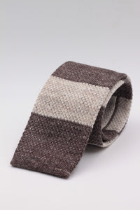Cruciani & Bella 100% Knitted Linen Beige and Brown stripe knitted tie Handmade in Italy 146 cm x 6 cm