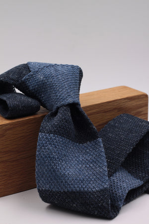 Cruciani & Bella 100% Knitted Linen Blue and Light Blue Jeans stripe tie Handmade in Italy 6 cm x 146 cm