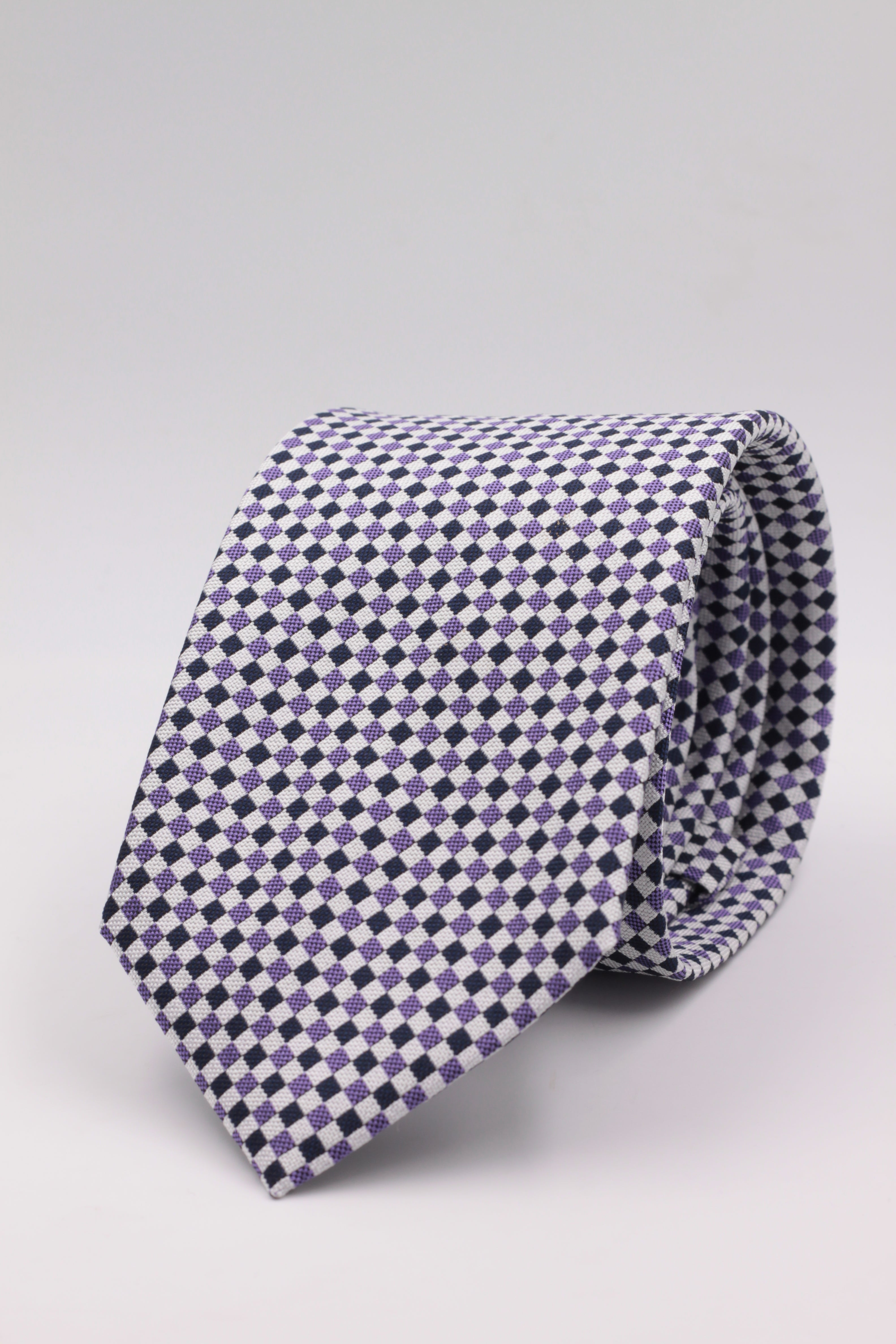 Cruciani & Bella 100% Woven Jacquard Silk Italian Fabric Tipped Dark Blue and Purple Optical tie Handmade in italy 8 x 150 cm