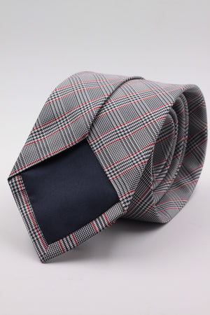 Cruciani & Bella 100% Woven Jacquard Silk Italian Fabric Tipped Dark Blue and Red Optical tie Handmade in italy 8 x 150 cm