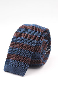Cruciani & Bella 100% Knitted Silk Blue and Brown stripe tie Handmade in Italy 6 cm x 147 cm
