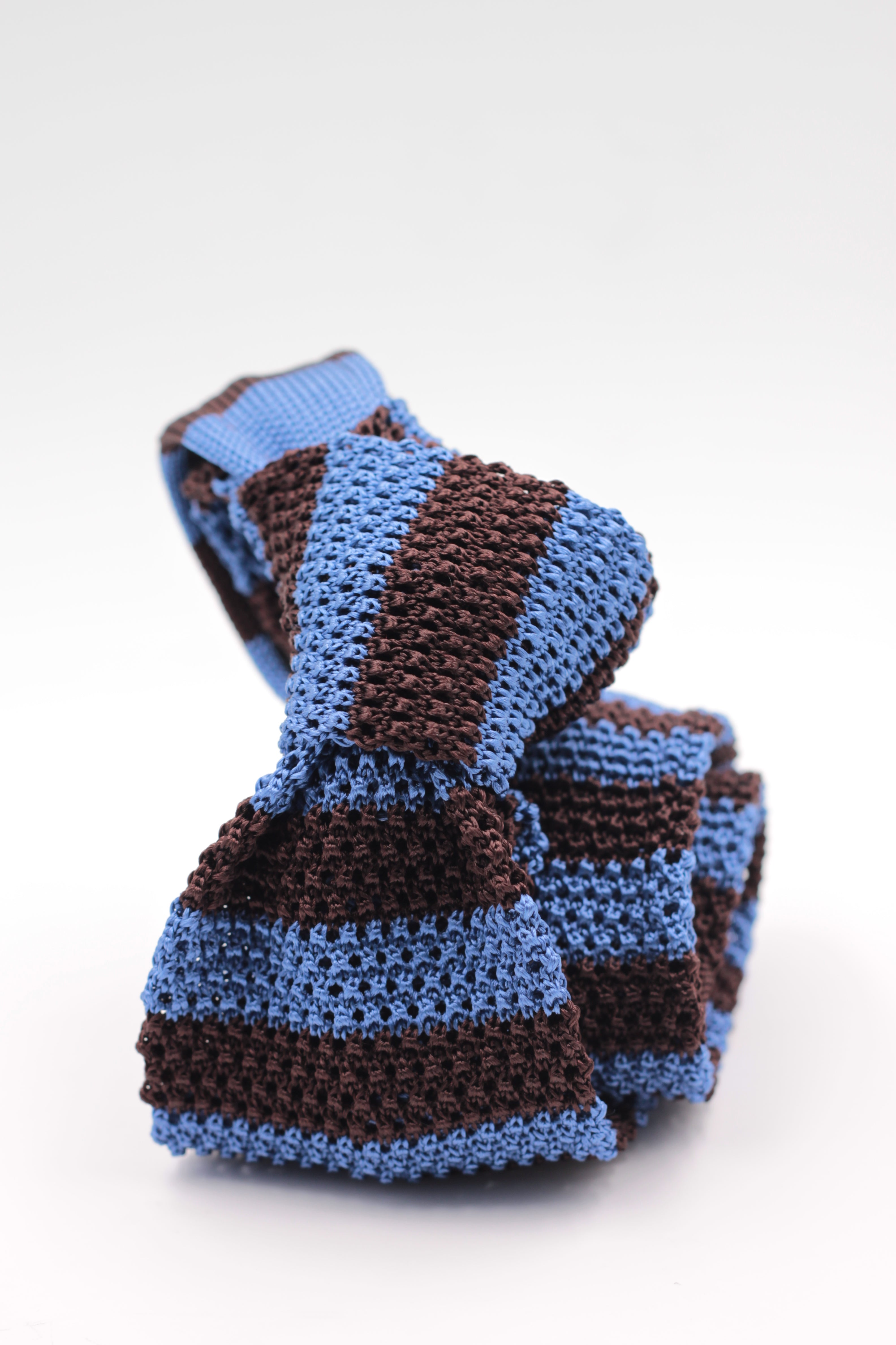 Cruciani & Bella 100% Knitted Silk Light Blue and Brown stripe tie Handmade in Italy 6 cm x 147 cm