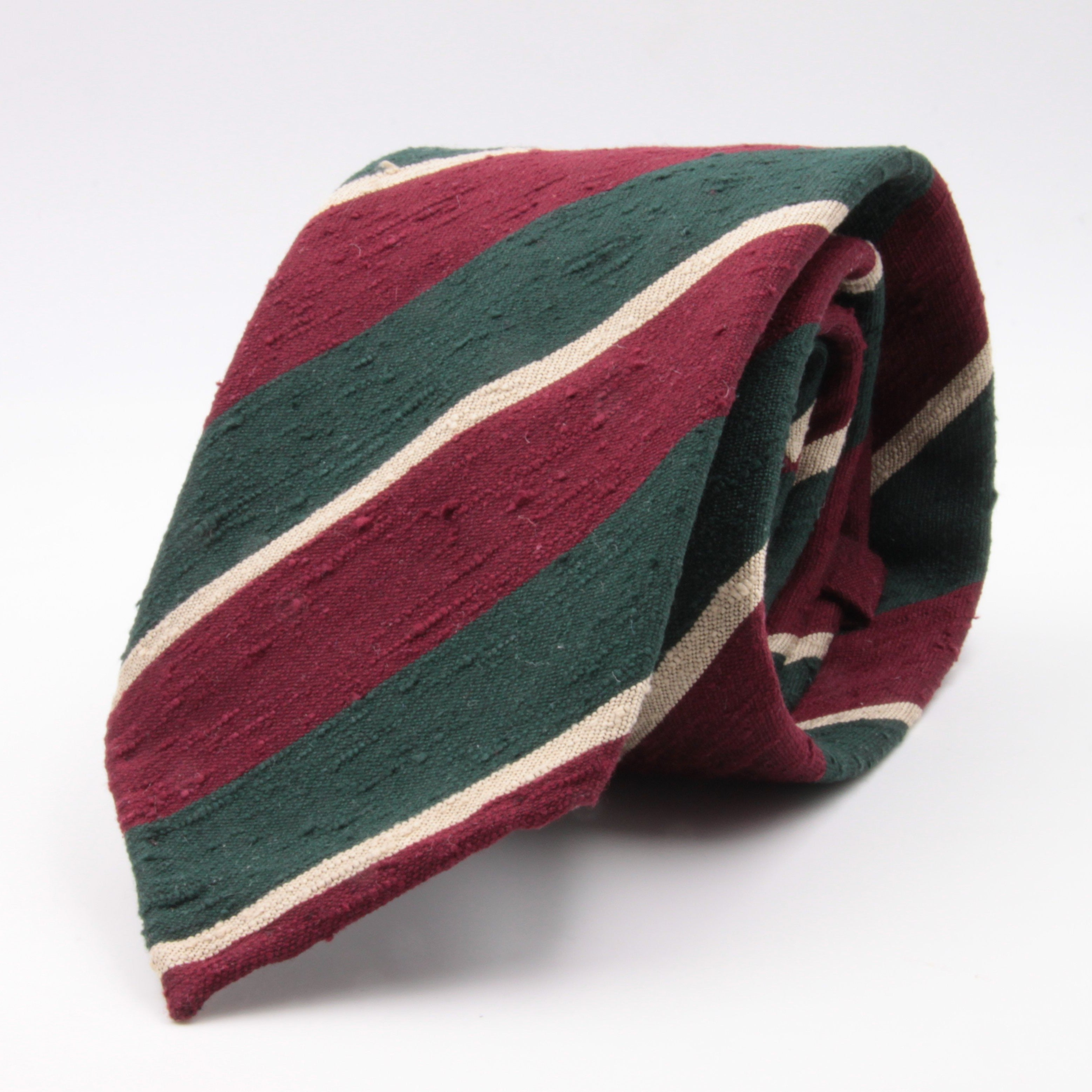 Cruciani & Bella 100% Silk Shantung Unlined Hand rolled blades Green, Burgundy and Yellow stripe tie Handmade in Italy 8 cm x 150 cm