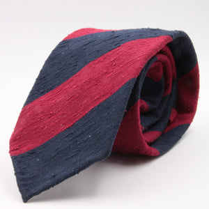 Cruciani & Bella 100% Silk Shantung Unlined Hand rolled blades Blue and Red stripe tie Handmade in Italy 8 cm x 150 cm