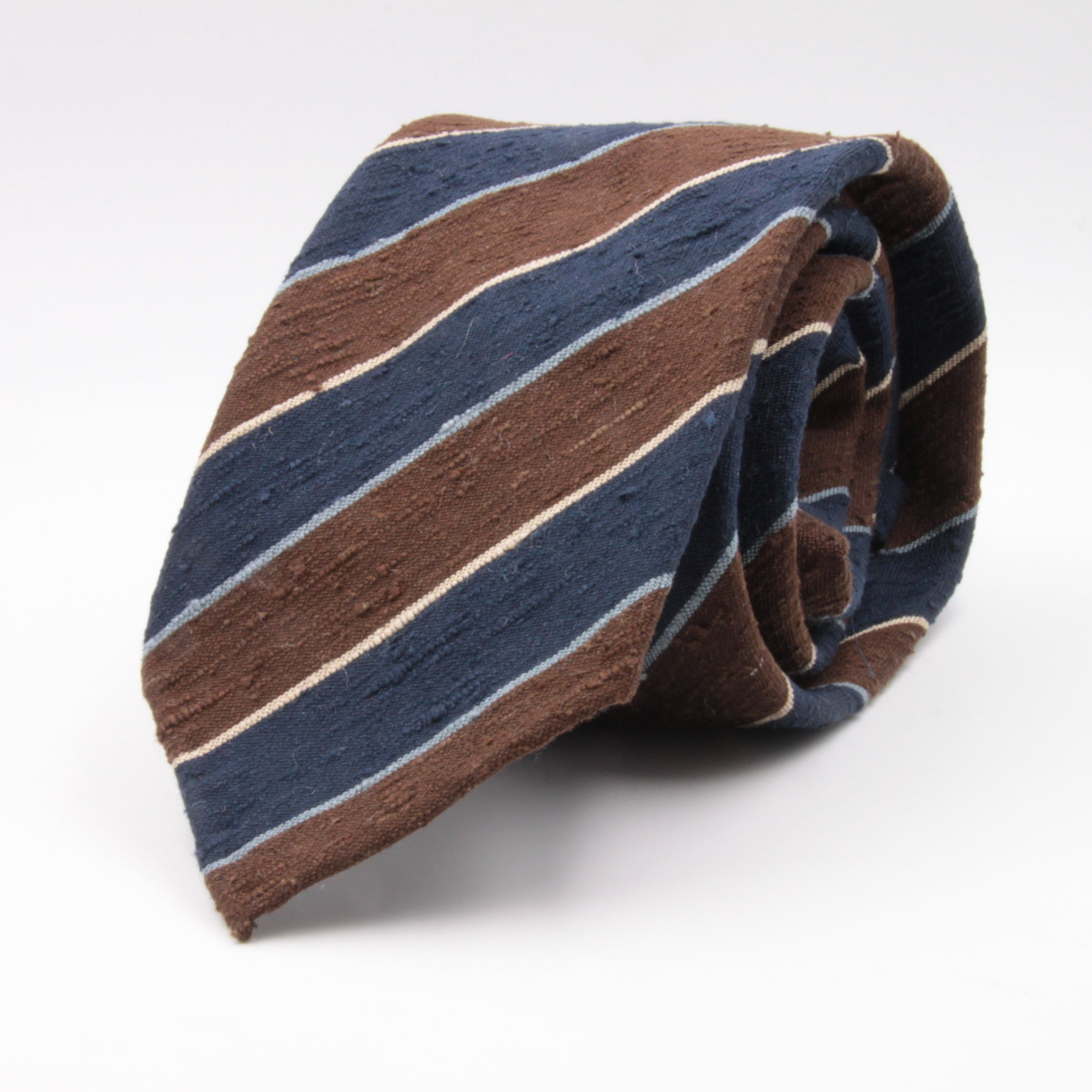 Cruciani & Bella 100% Silk Shantung Unlined Hand rolled blades Blue, Brown, Blue Sky and Yellow stripe tie Handmade in Italy 8 cm x 150 cm