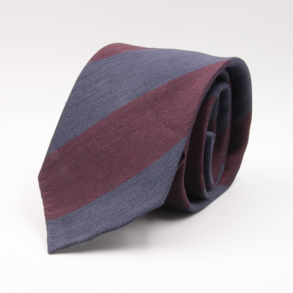 Cruciani & Bella 60% Linen, 40% Silk  Italian fabric Unlined Grey and Burgundy unlined stripe tie Handmade in Italy 8 cm x 150 cm
