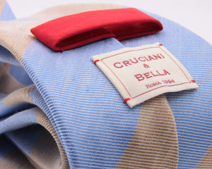 Cruciani & Bella 60% Linen, 40% Silk  Italian fabric Unlined Light Blue Sky and Sand unlined stripe tie Handmade in Italy 8 cm x 150 cm