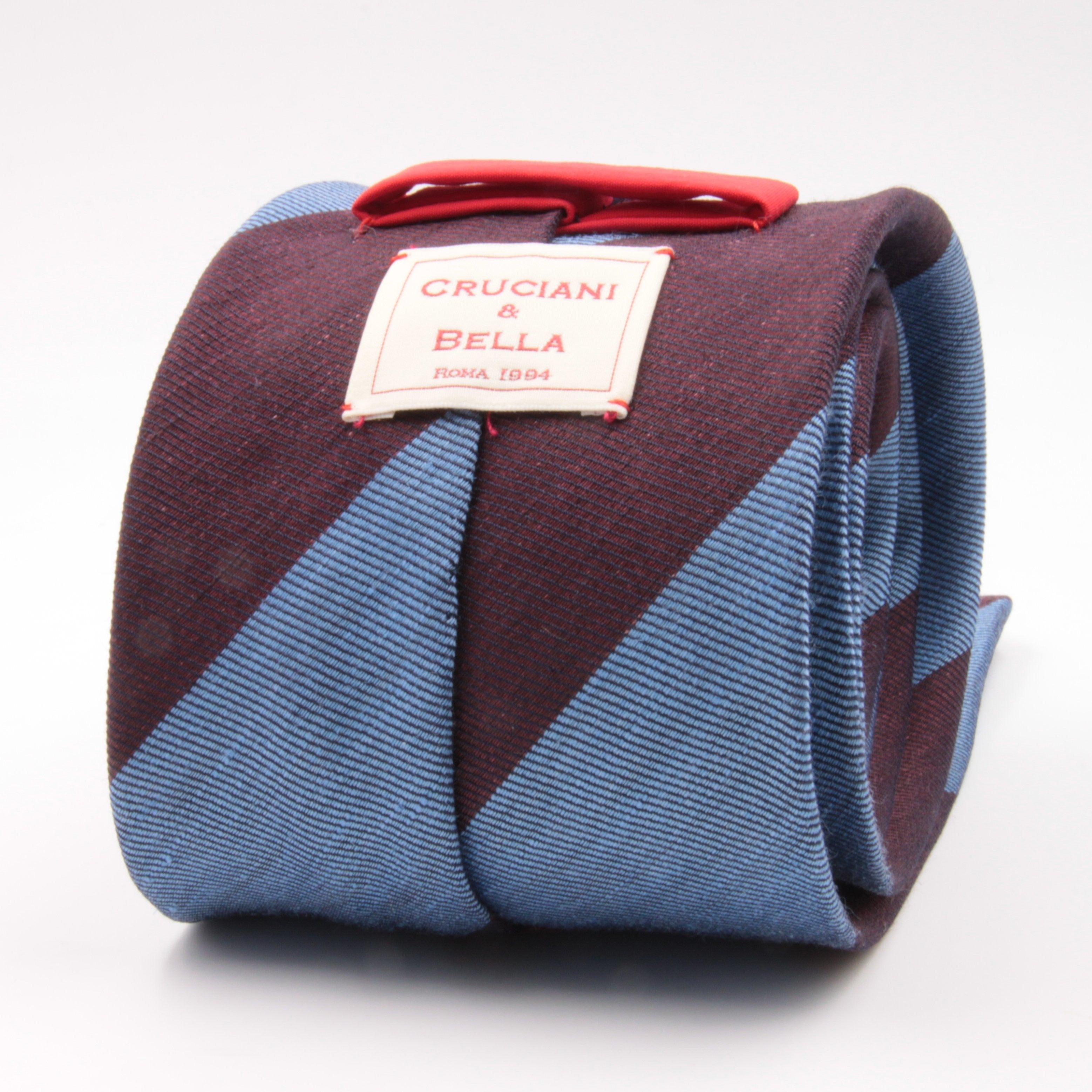 Cruciani & Bella 60% Linen, 40% Silk  Italian fabric Unlined Blue and Burgundy unlined stripe tie Handmade in Italy 8 cm x 150 cm