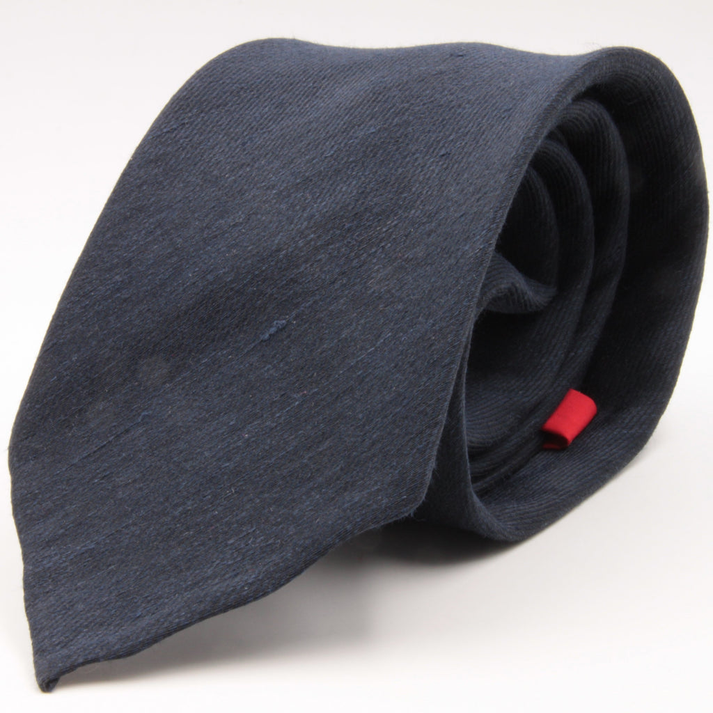 Cruciani & Bella 60% Linen, 40% Silk  Italian fabric Unlined Dark Blue unlined plain tie Handmade in Italy 8 cm x 150 cm