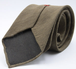 Cruciani & Bella 60% Linen, 40% Silk  Italian fabric Unlined Military Green unlined plain tie Handmade in Italy 8 cm x 150 cm