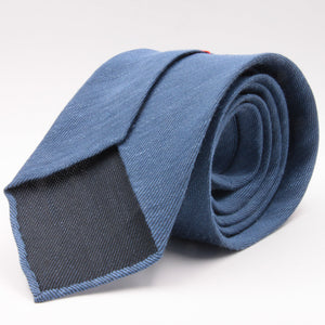 Cruciani & Bella 60% Linen, 40% Silk  Italian fabric Unlined Denim Blue unlined plain tie Handmade in Italy 8 cm x 150 cm