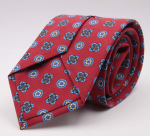 Cruciani & Bella 100% Printed Madder Silk  Italian fabric Self Tipped Red, Light Blue and Yellow Motif Tie 8 cm x 150 cm