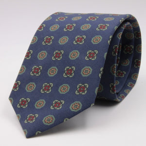 Cruciani & Bella 100% Printed Madder Silk  Italian fabric Self Tipped Blue, Green and Burgundy Motif Tie 8 cm x 150 cm