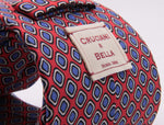Cruciani & Bella 100% Printed Madder Silk  Italian fabric Self Tipped Red. Blue and White Optical Tie 8 cm x 150 cm
