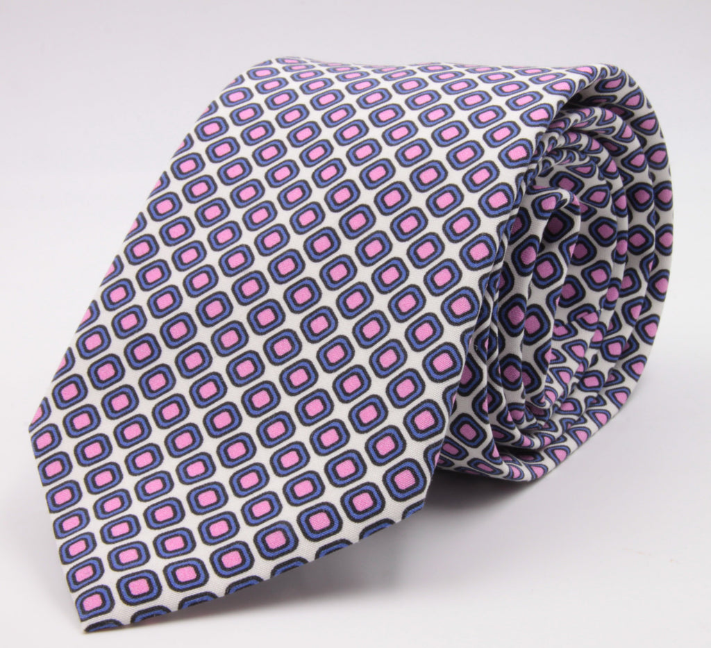 Cruciani & Bella 100% Printed Madder Silk  Italian fabric Self Tipped White, Pink and Blue Geometric Tie 8 cm x 150 cm