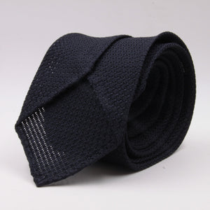 Cruciani & Bella 100% Silk Grenadine Garza Grossa Woven in Italy Unlined Midnight blue plain tie Handmade in Italy 8 cm x 150 cm