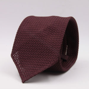 Cruciani & Bella 100% Silk Grenadine Garza Grossa Woven in Italy Unlined Burgundy plain tie Handmade in Italy 8 cm x 150 cm