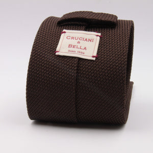 Cruciani & Bella 100% Silk Grenadine garza fina Tipped Brown plain  tie Handmade in Italy 8 cm x 150 cm