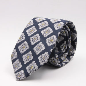 Cruciani & Bella 100% Silk Jacquard  Blue navy, light yellow and white geometrical motif tie Handmade in Italy 8 cm x 150 cm #4422
