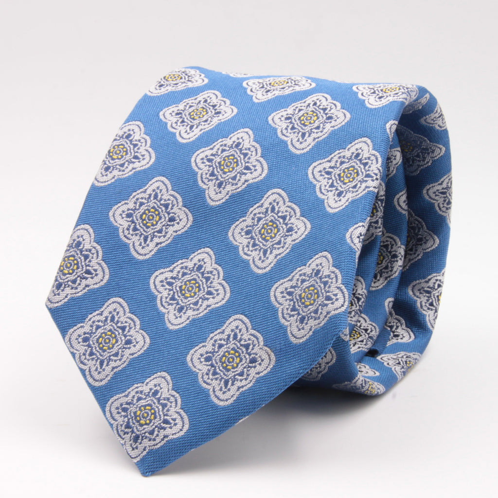 Cruciani & Bella 100% Silk Jacquard  Light Blue, Navy, Light yellow and White geometrical motif tie Handmade in Italy 8 cm x 150 cm #4422