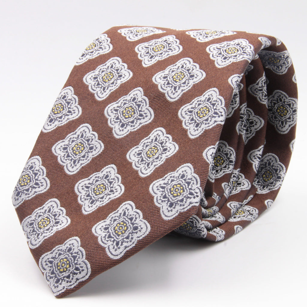 Cruciani & Bella 100% Silk Jacquard  Brown, Navy, Light yellow and White geometrical motif tie Handmade in Italy 8 cm x 150 cm #4421