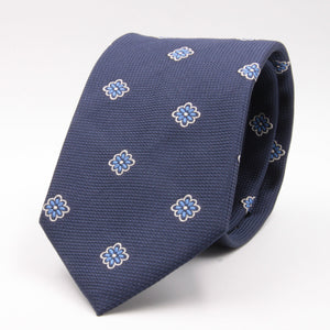 Cruciani & Bella 100% Silk Jacquard  Blue, White and Light Blue Flowers tie Handmade in Italy 8 cm x 150 cm #4432