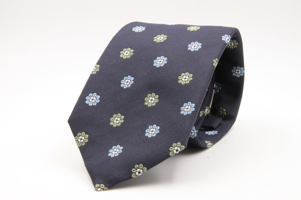 Cruciani & Bella - Silk- Blue, Light Green e Light Blue Flowers Tie #4436