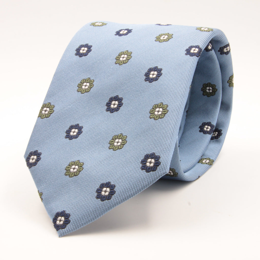 Cruciani & Bella 100% Silk Jacquard  Light Blue, Light Green e Light Blue Flowers tie Handmade in Italy 8 cm x 150 cm #4453