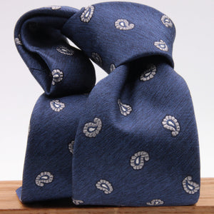 Cruciani & Bella 100% Silk Jacquard  Denim Blue and LightGrey Paisley Tie Handmade in Italy 8 cm x 150 cm #4439
