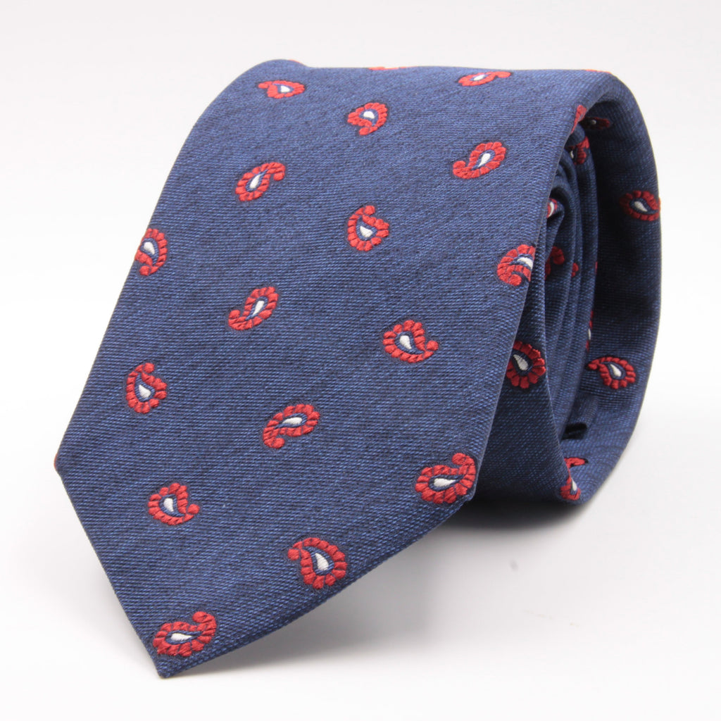 Cruciani & Bella 100% Silk Jacquard  Denim Blue and Red Paisley Tie Handmade in Italy 8 cm x 150 cm #4440