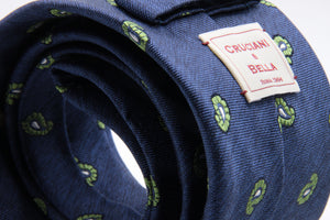 Cruciani & Bella - Silk- Denim Blue, and Green Paisley Tie #4441