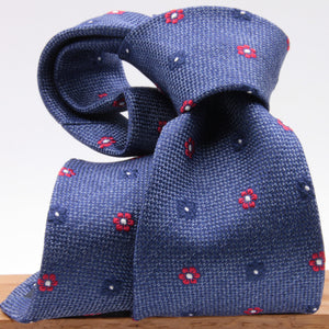 Cruciani & Bella 100% Silk Jacquard  Denim Blue, Red and Blue Flowers Tie Handmade in Italy 8 cm x 150 cm #4430