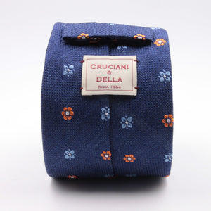 Cruciani & Bella 100% Silk Jacquard  Denim Blue, Orange and Light Blue Flowers Tie Handmade in Italy 8 cm x 150 cm #4431