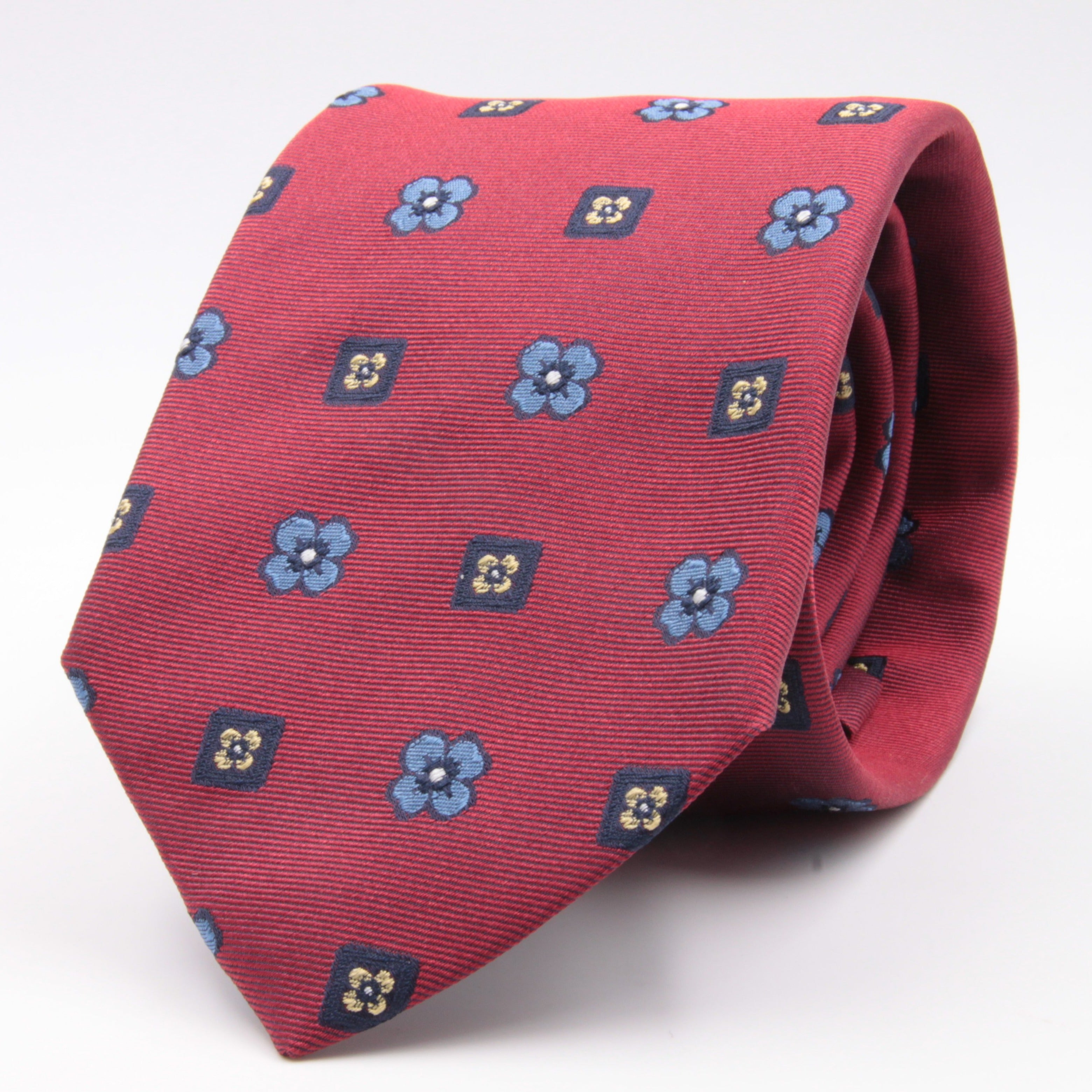 Cruciani & Bella 100% Silk Jacquard  Reds, Blue, Yellow and Light Blue Flowers Tie Handmade in Italy 8 cm x 150 cm #4477